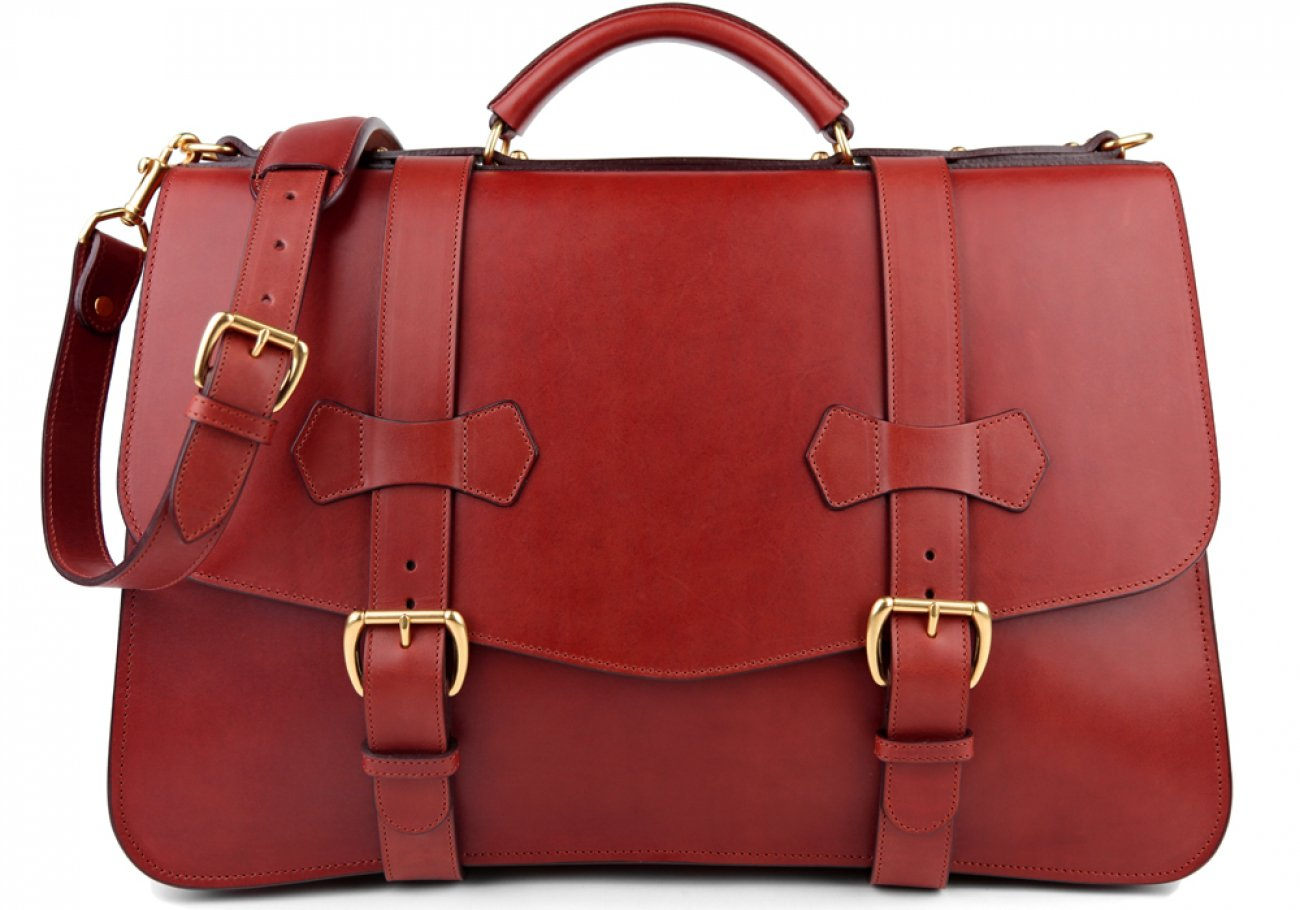 Red Leather Small Lawyers Briefcase Frank Clegg Made In Usa 1 1