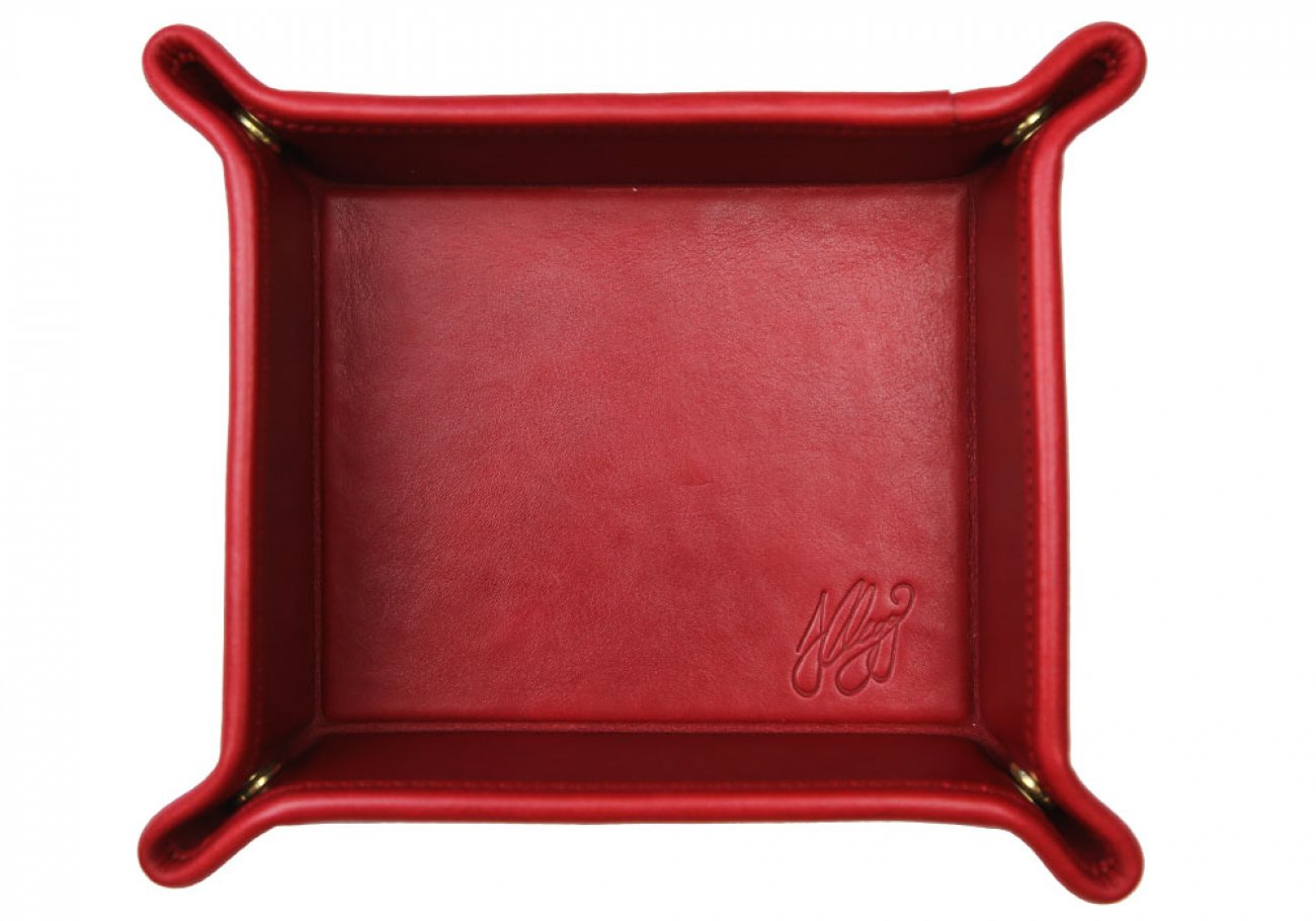 Red Leather Valet Key Tray Frank Clegg Made In Usa 1