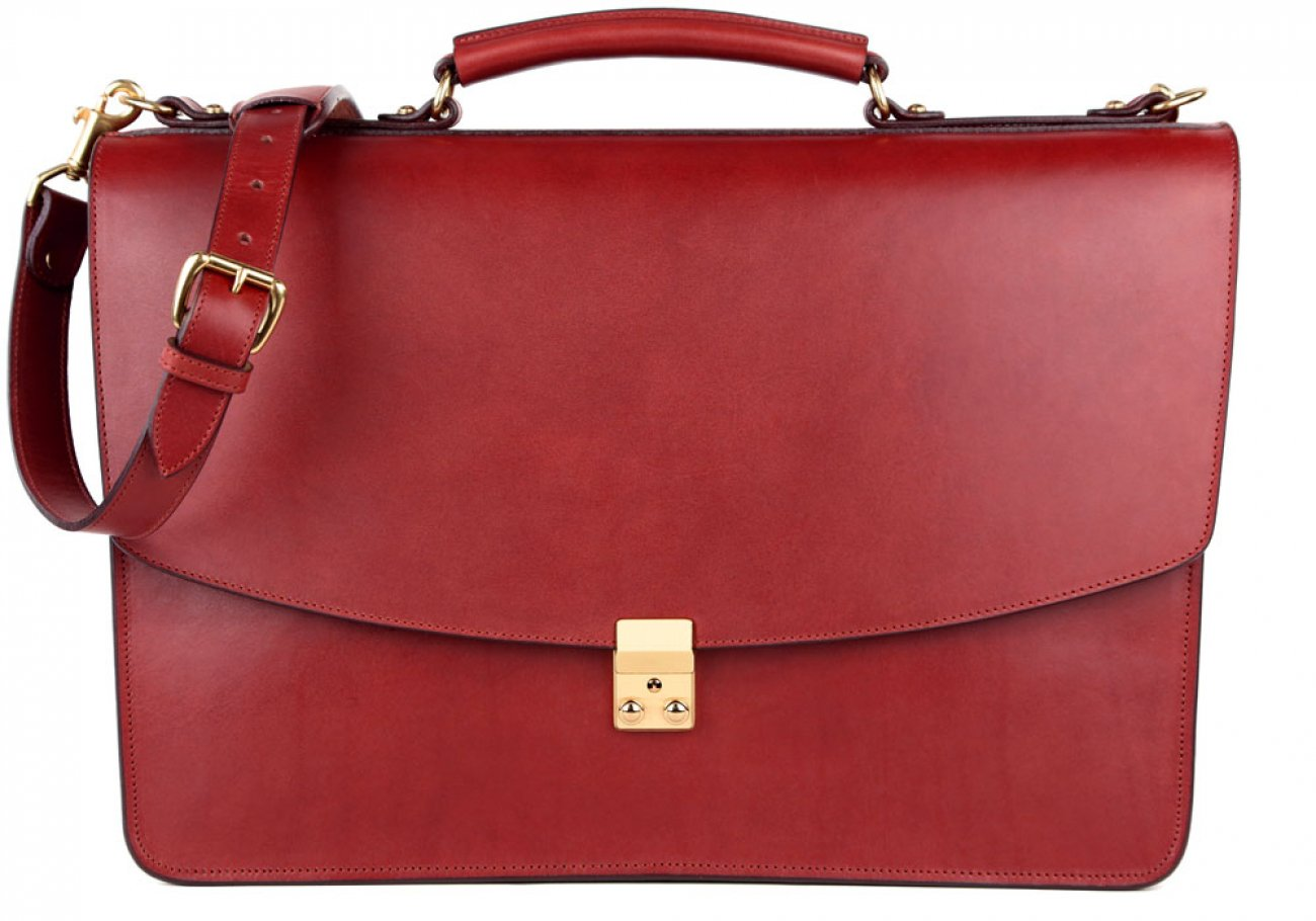 Red Leather Wall Street Briefcase Frank Clegg Made In Usa 2