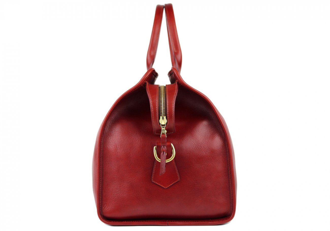Red Signature Leather Duffle Bag Frank Clegg Made In Usa 5 2