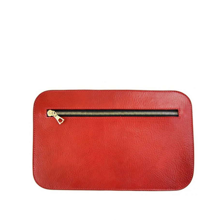 Red Small Leather Zipper Pencil Case Clutch Frank Clegg Made In Usa 1 Raw 2