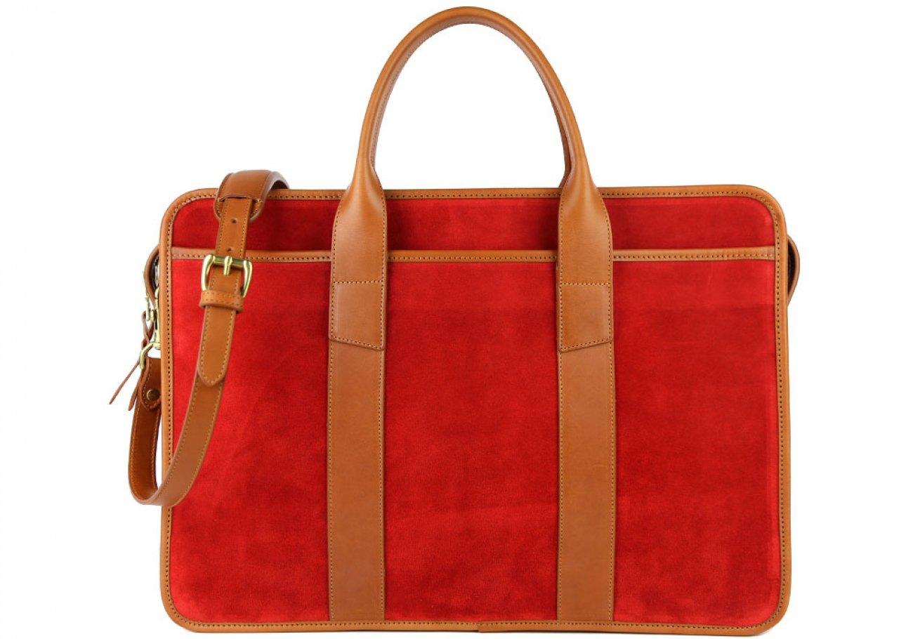 Red Suede Bound Edge Ziptop Briefcase Frank Clegg Made In Usa 2