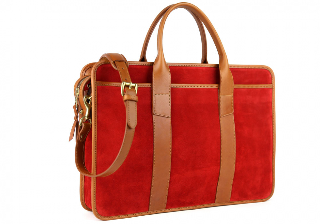 Red Suede Bound Edge Ziptop Briefcase Frank Clegg Made In Usa 3