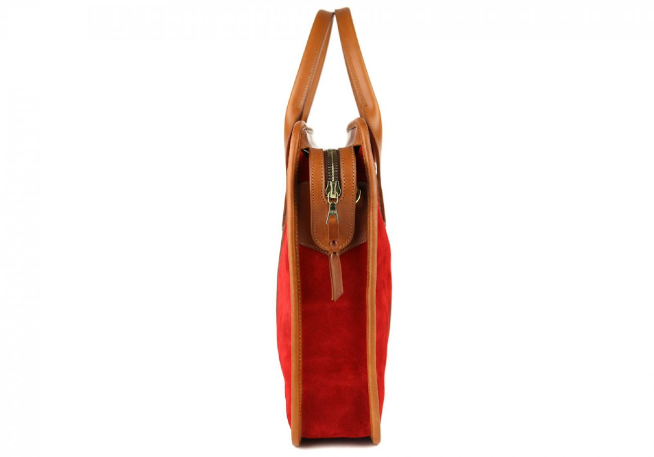 Red Suede Bound Edge Ziptop Briefcase Frank Clegg Made In Usa 5