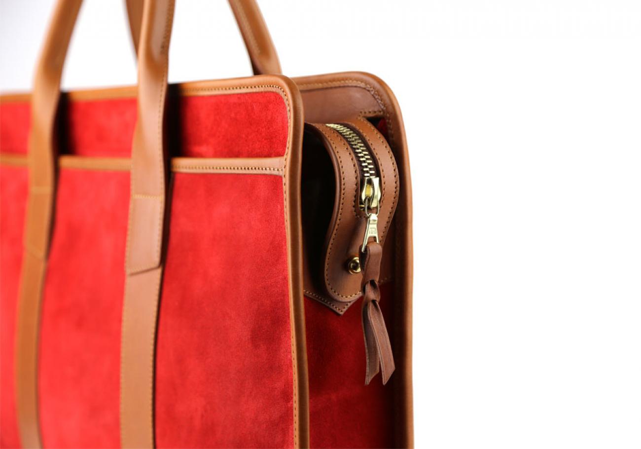 Red Suede Bound Edge Ziptop Briefcase Frank Clegg Made In Usa 6