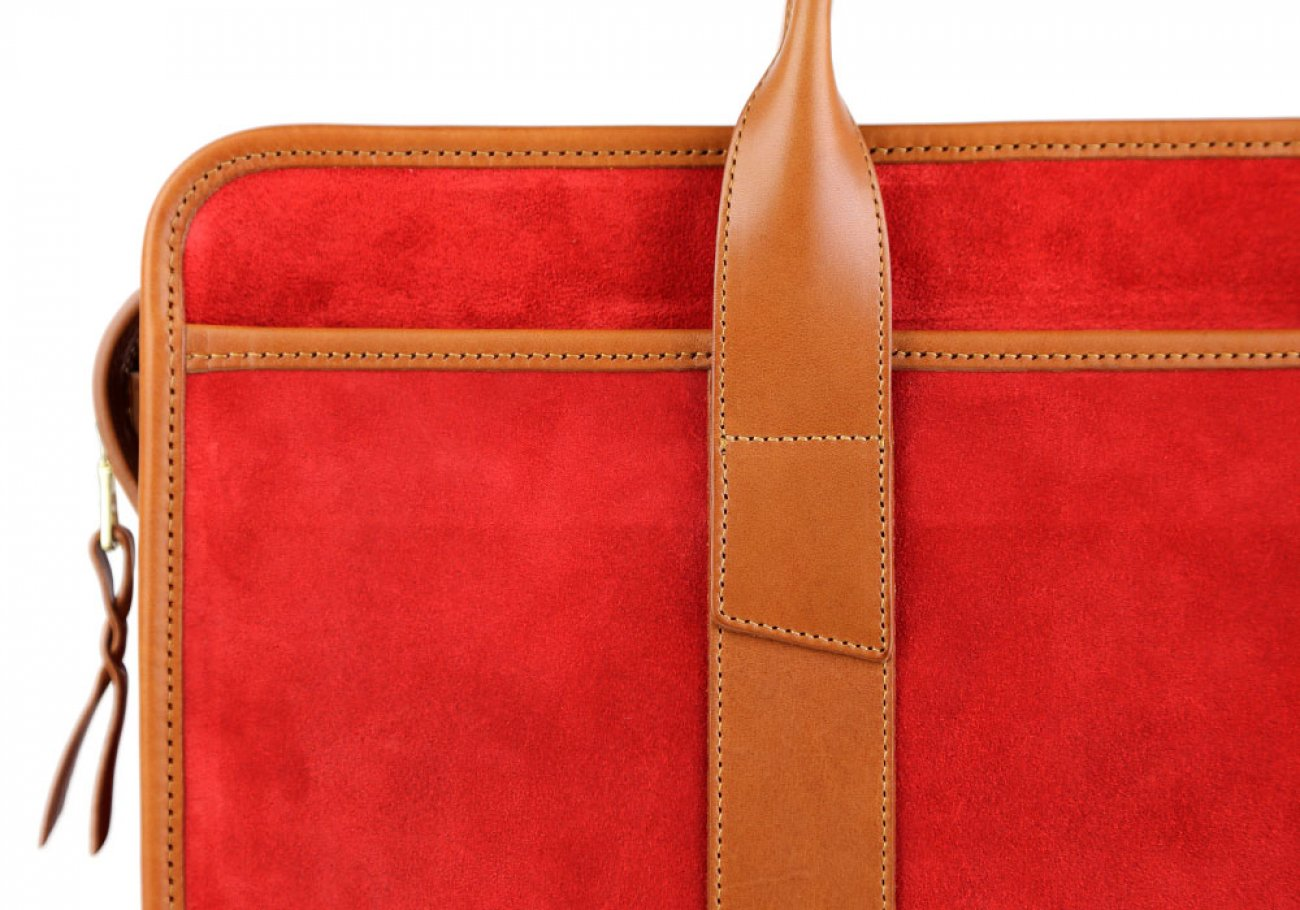 Red Suede Bound Edge Ziptop Briefcase Frank Clegg Made In Usa 7