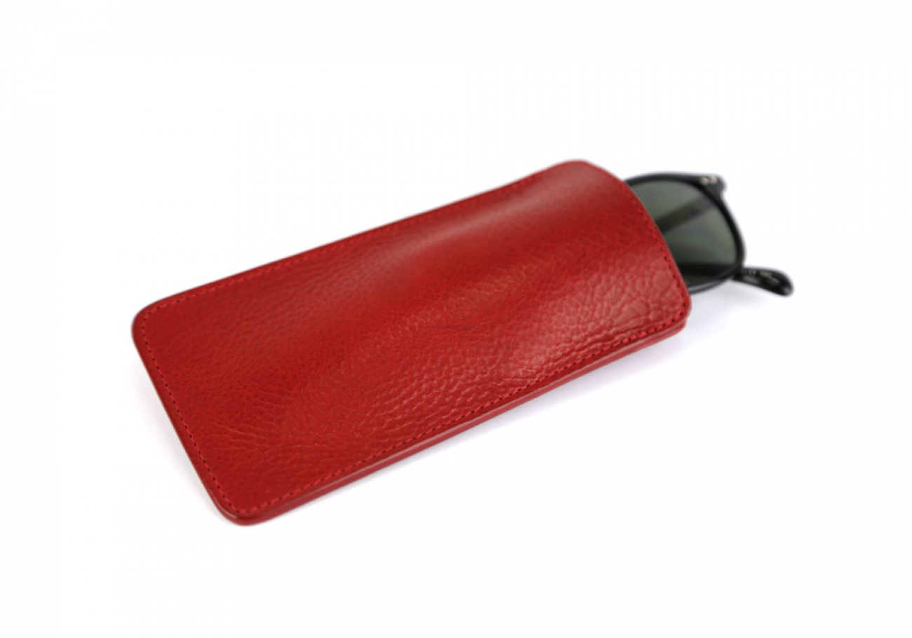 Red Tumbled Leather Eye Glass Case Frank Clegg Made In Usa 1 1