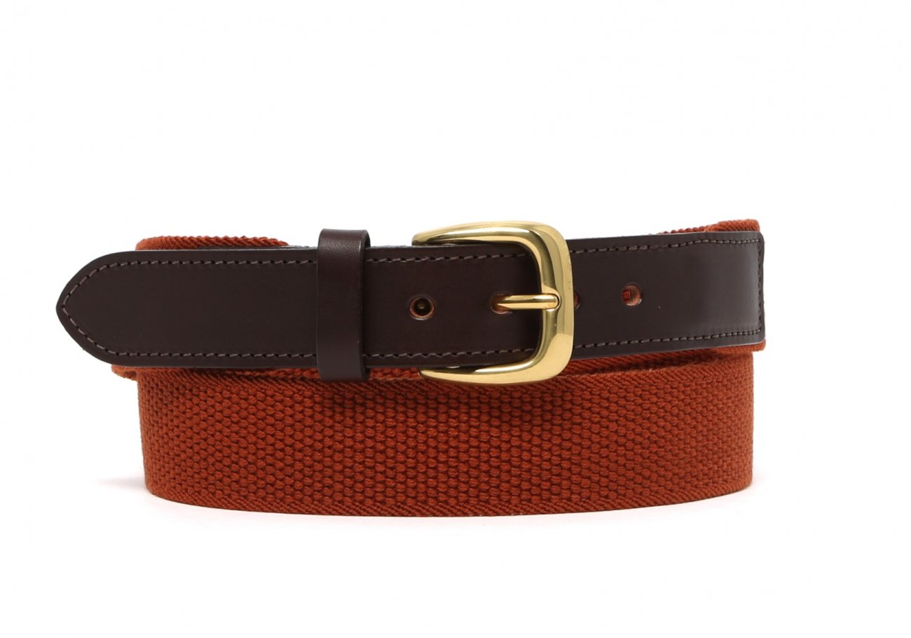 Rust Woven Stretch Belt Brass Buckle1 1 2