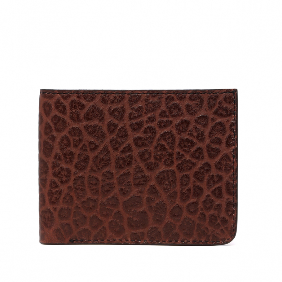Six Card Bifold Wallet Chocolate Shrunken Grain Frank Clegg