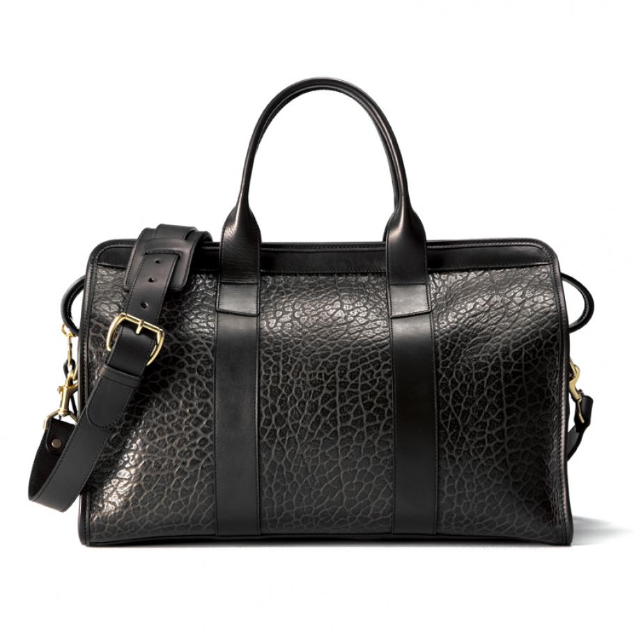 Small Leather Duffle Bag Black Shrunken Main