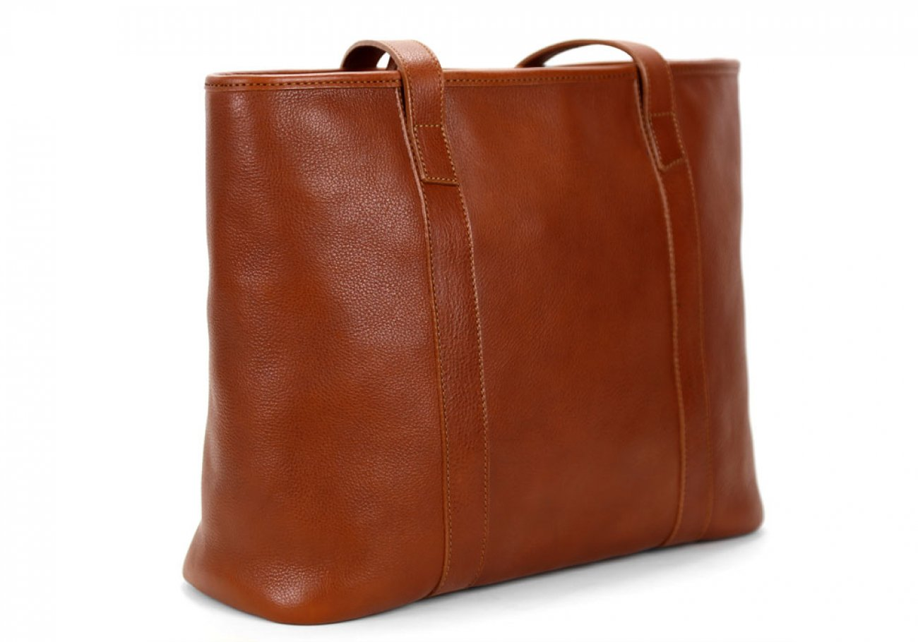 Small Cognac Handmade Leather Laurlie Ziptop Tote Bag Made In Usa 2
