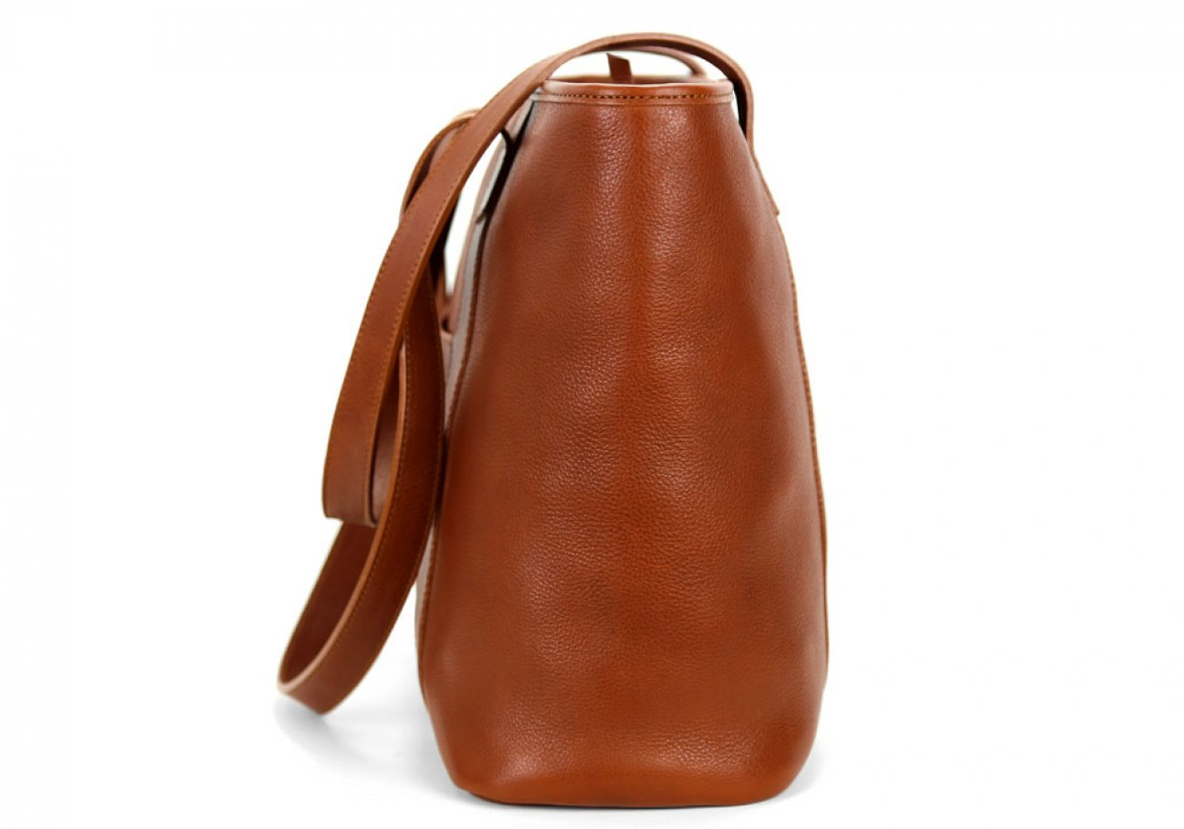 Small Cognac Handmade Leather Laurlie Ziptop Tote Bag Made In Usa 3