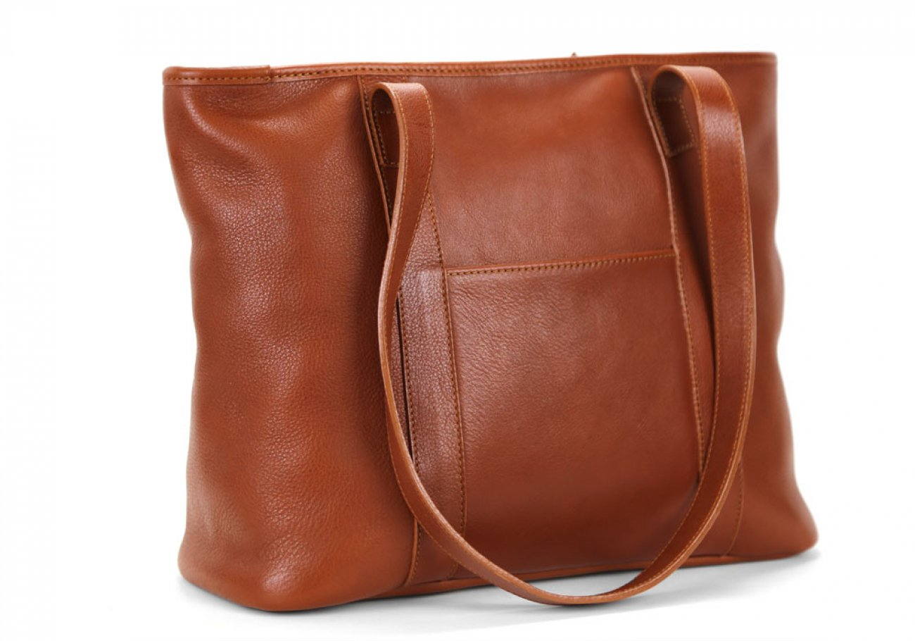 Small Cognac Handmade Leather Laurlie Ziptop Tote Bag Made In Usa 4