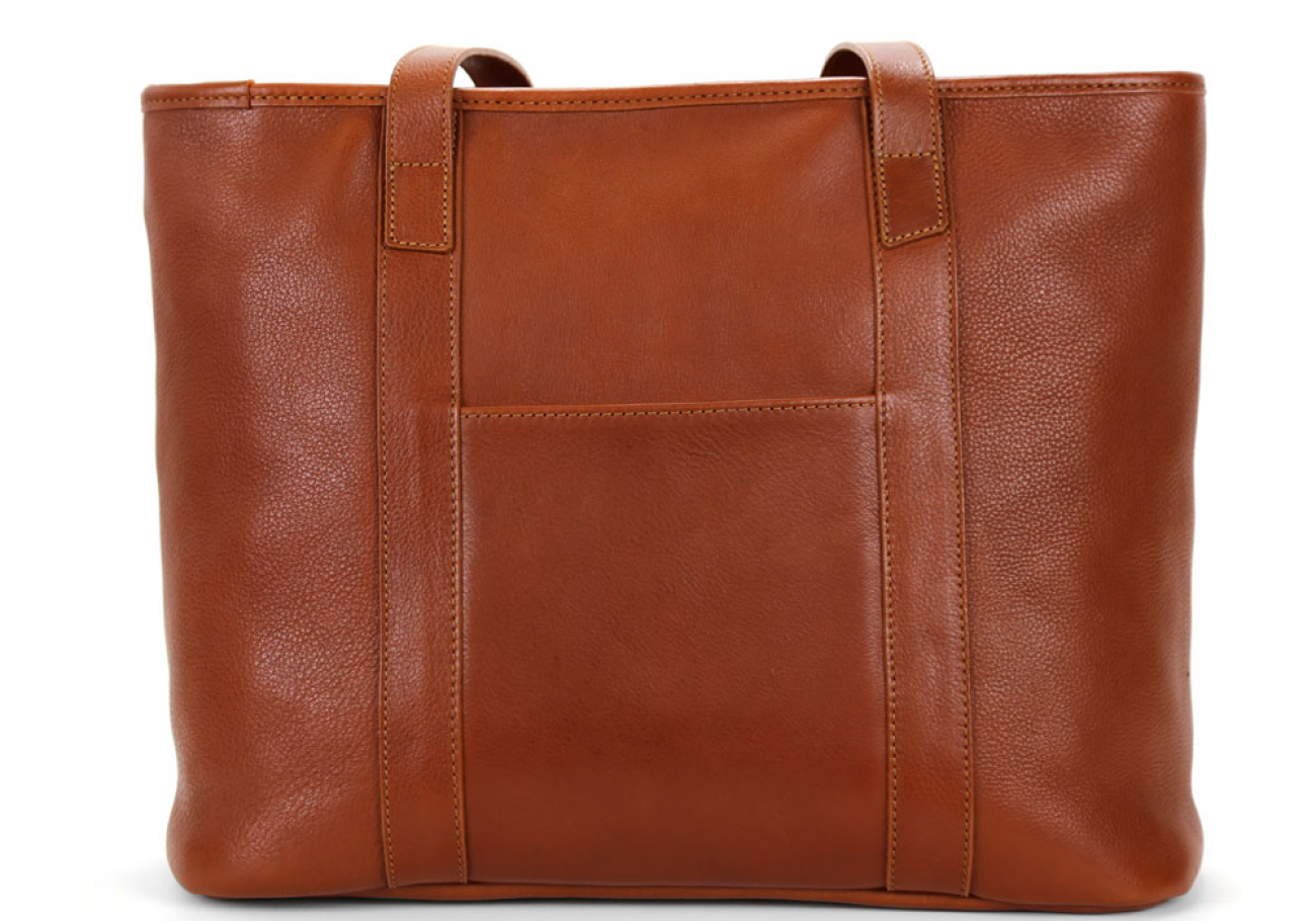 Small Cognac Handmade Leather Laurlie Ziptop Tote Bag Made In Usa 5