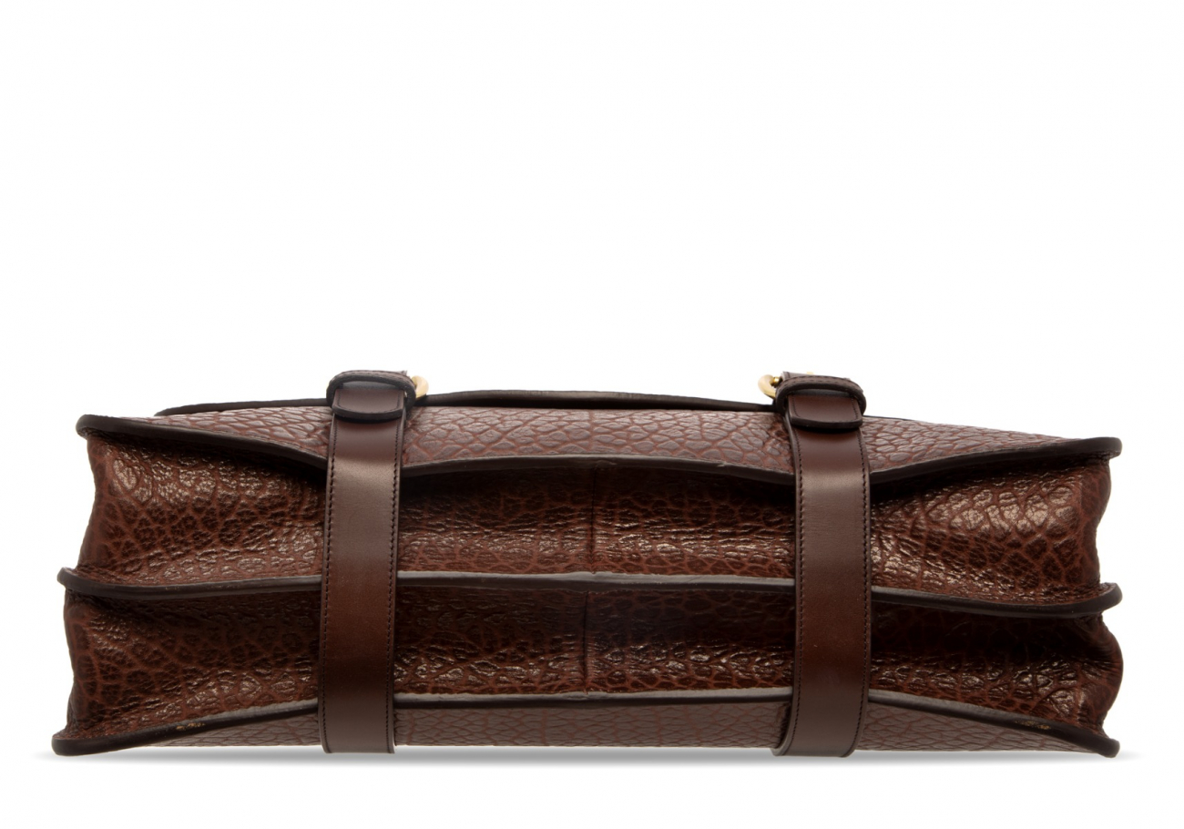 Small Lawyers Briefcase Brown Shrunken5