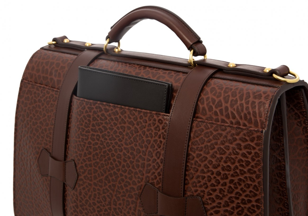 Small Lawyers Briefcase Brown Shrunken8