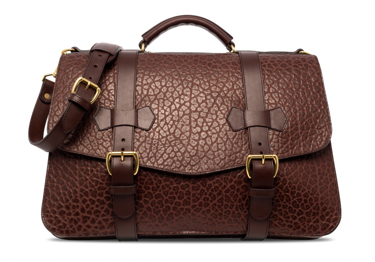 Small Lawyers Briefcase Brown Shrunken9