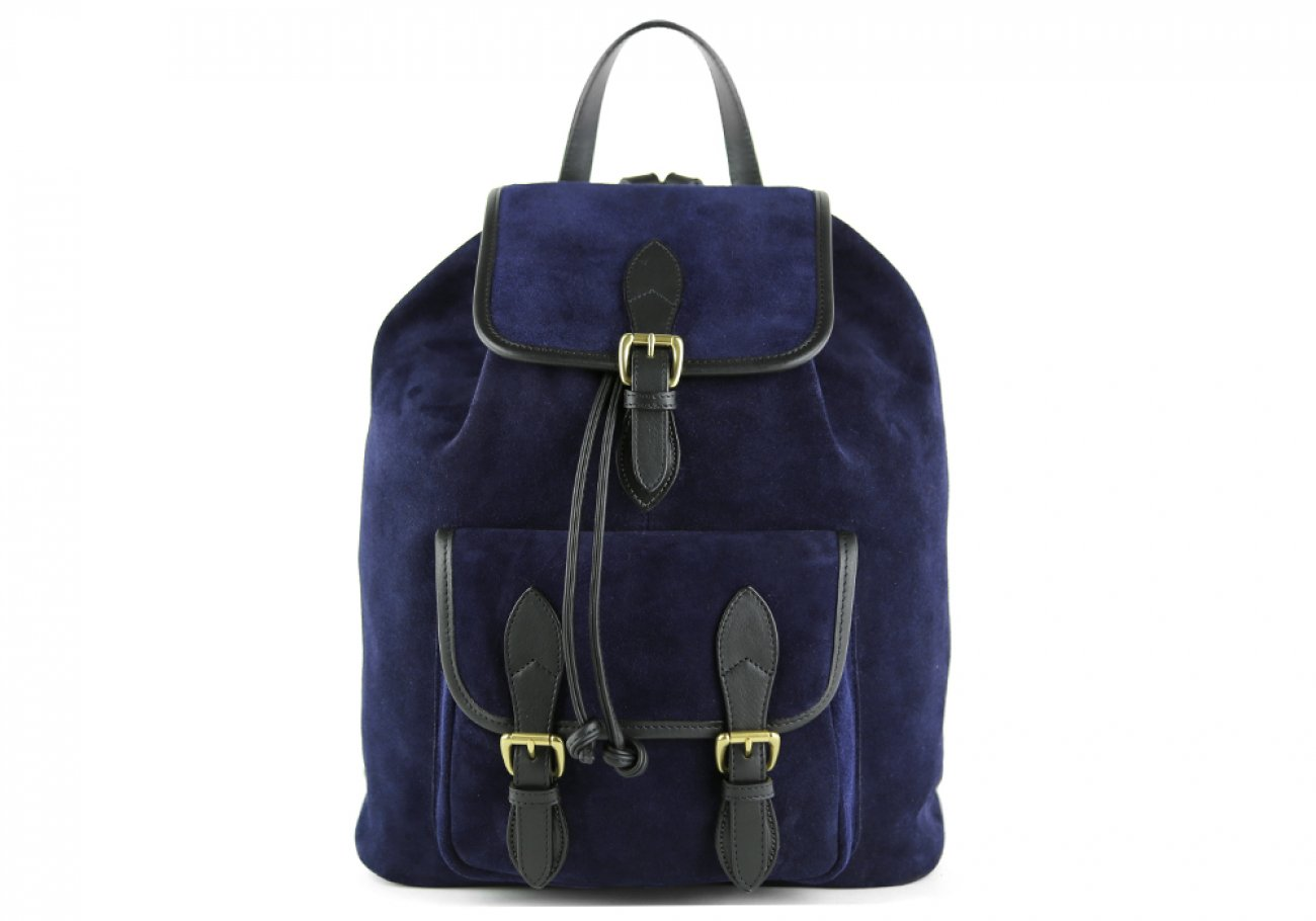 Suede Backpack Navy Leather Frank Clegg 1