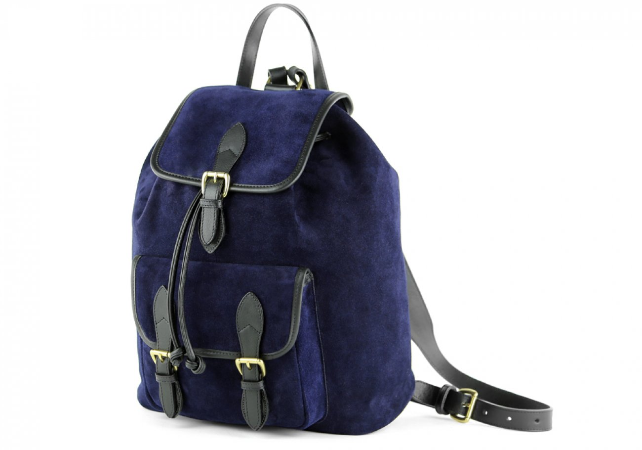 Suede Backpack Navy Leather Frank Clegg 2
