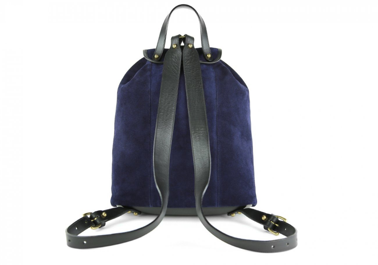 Suede Backpack Navy Leather Frank Clegg 3