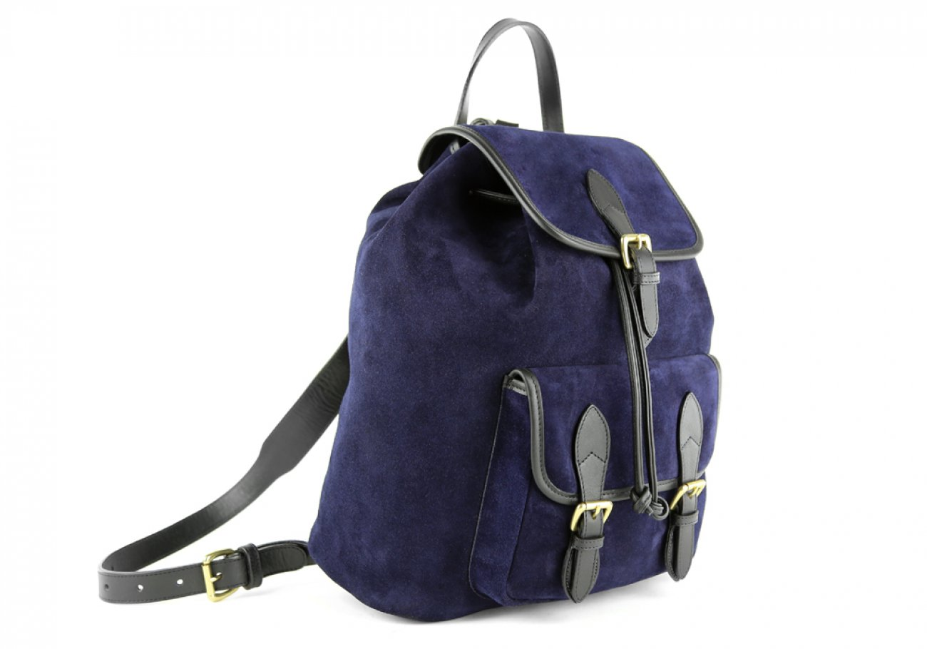 Suede Backpack Navy Leather Frank Clegg 4