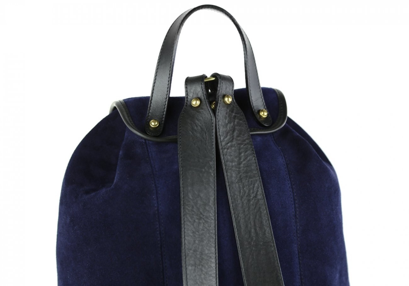 Suede Backpack Navy Leather Frank Clegg 5