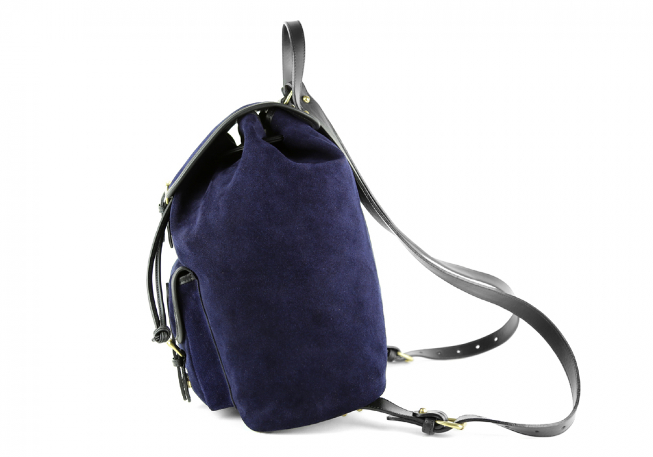 Suede Backpack Navy Leather Frank Clegg 8