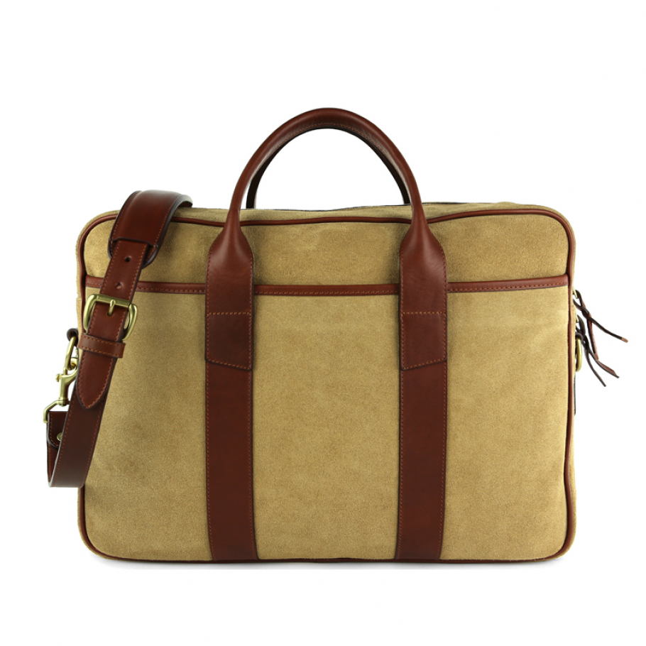 Suede Leather Commuter Briefcase Brown 2 Final 2