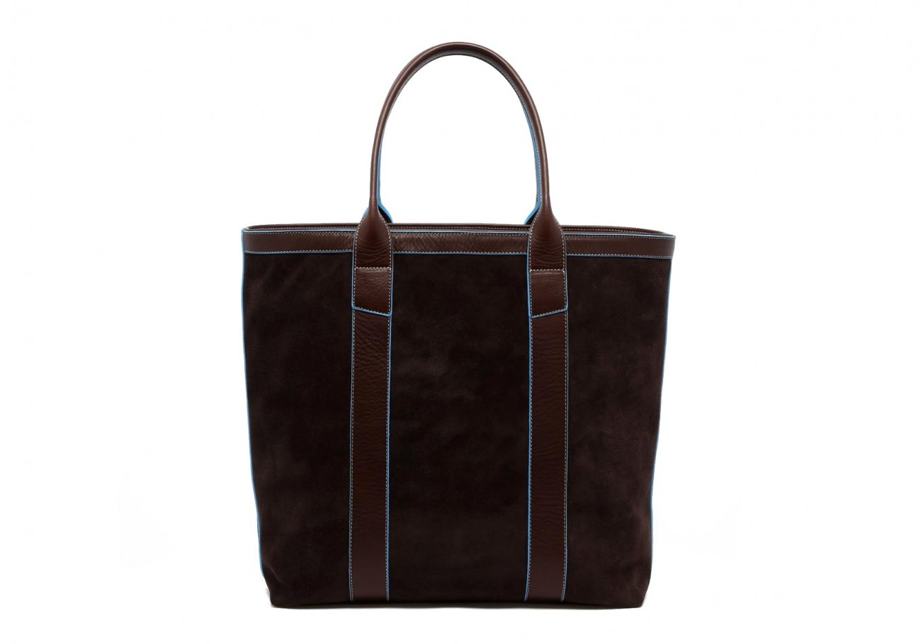 Suede Tall Tote Chocolate Baby Blue 2