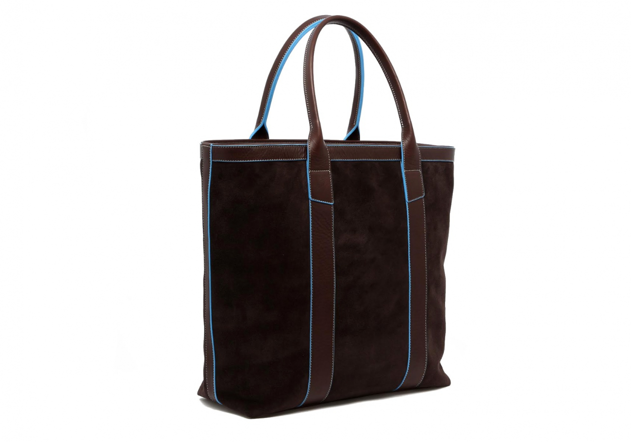 Suede Tall Tote Chocolate Baby Blue 3