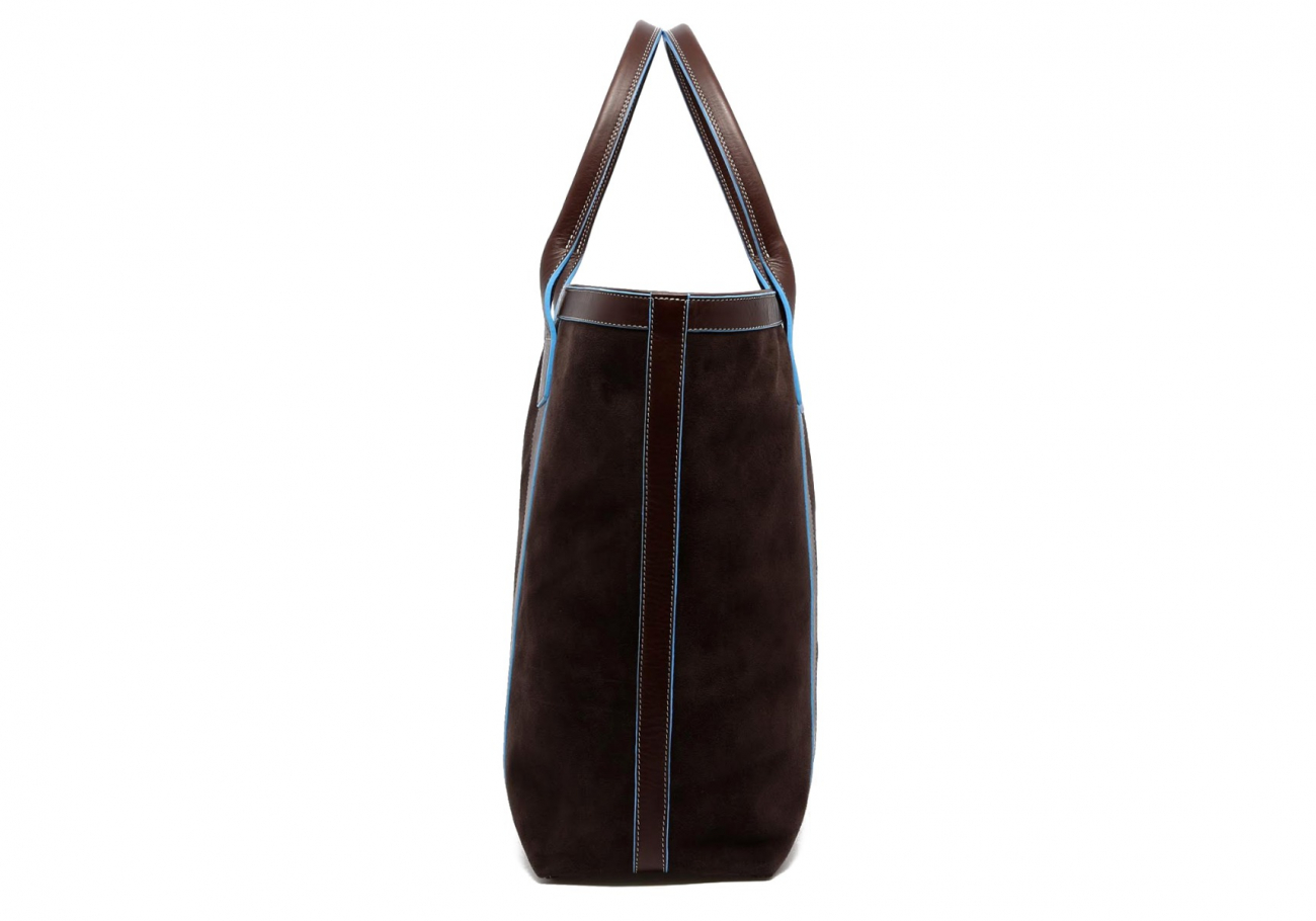 Suede Tall Tote Chocolate Baby Blue 4
