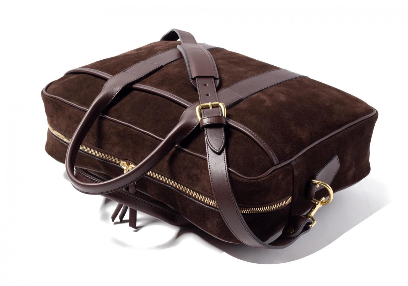 Suede Commuter Briefcase Chocolate10