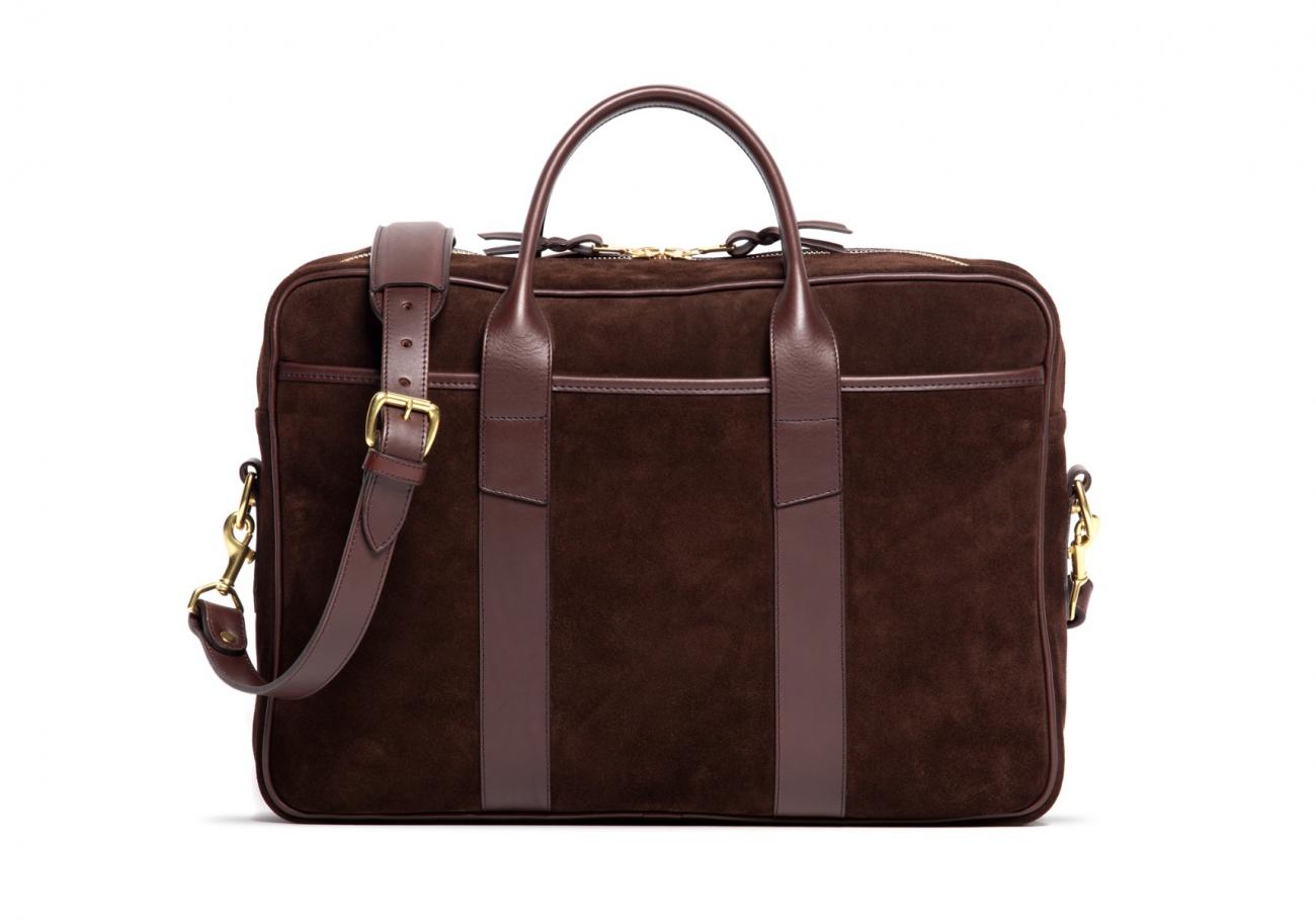 Suede Commuter Briefcase Chocolate1 1