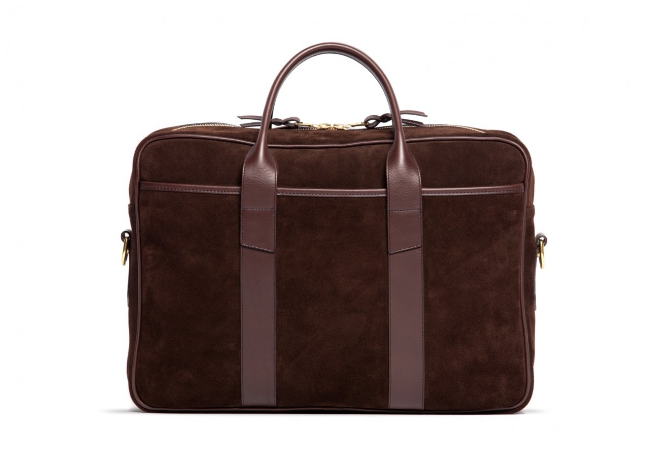 Suede Commuter Briefcase Chocolate2 1