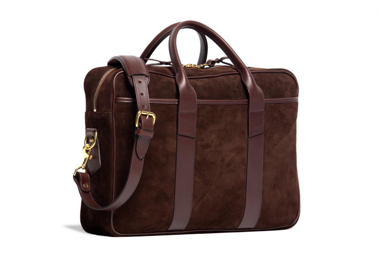 Suede Commuter Briefcase Chocolate3 1