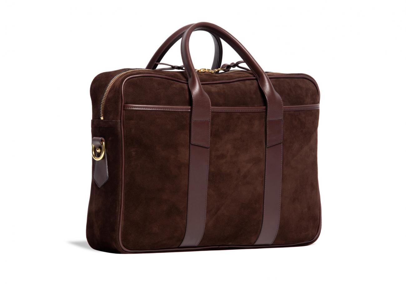 Suede Commuter Briefcase Chocolate4 1