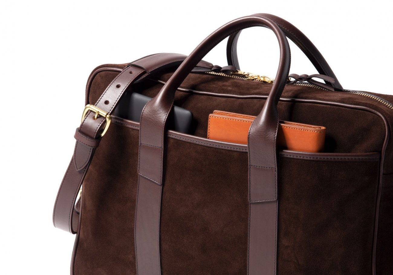 Suede Commuter Briefcase Chocolate8 1