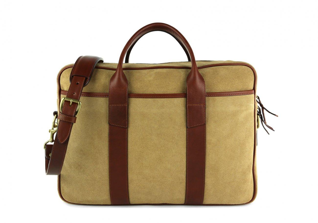 Suede Commuter Briefcase Light Brown 2