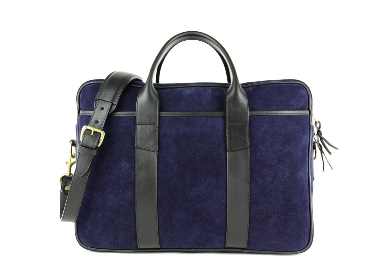 Suede Commuter Briefcase Navy And Black 2