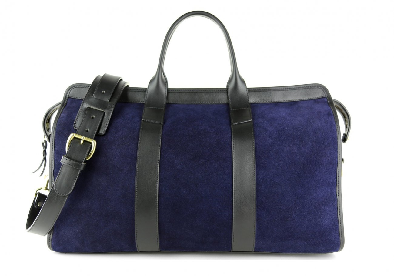 Suede Duffle Bag Navy And Black Frank Clegg1