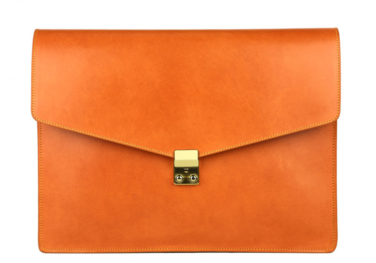 Tan Harness Belting 15  Leather Lock Portfolio Case Frank Clegg Made In Usa 1