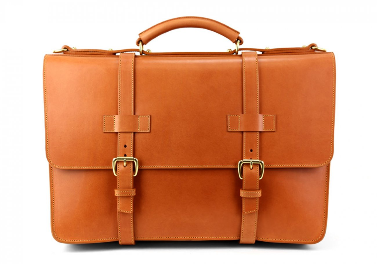 Tan Leather American Briefcase Frank Clegg Made In Usa 3