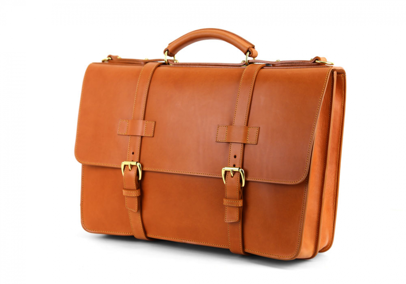 Tan Leather American Briefcase Frank Clegg Made In Usa 4