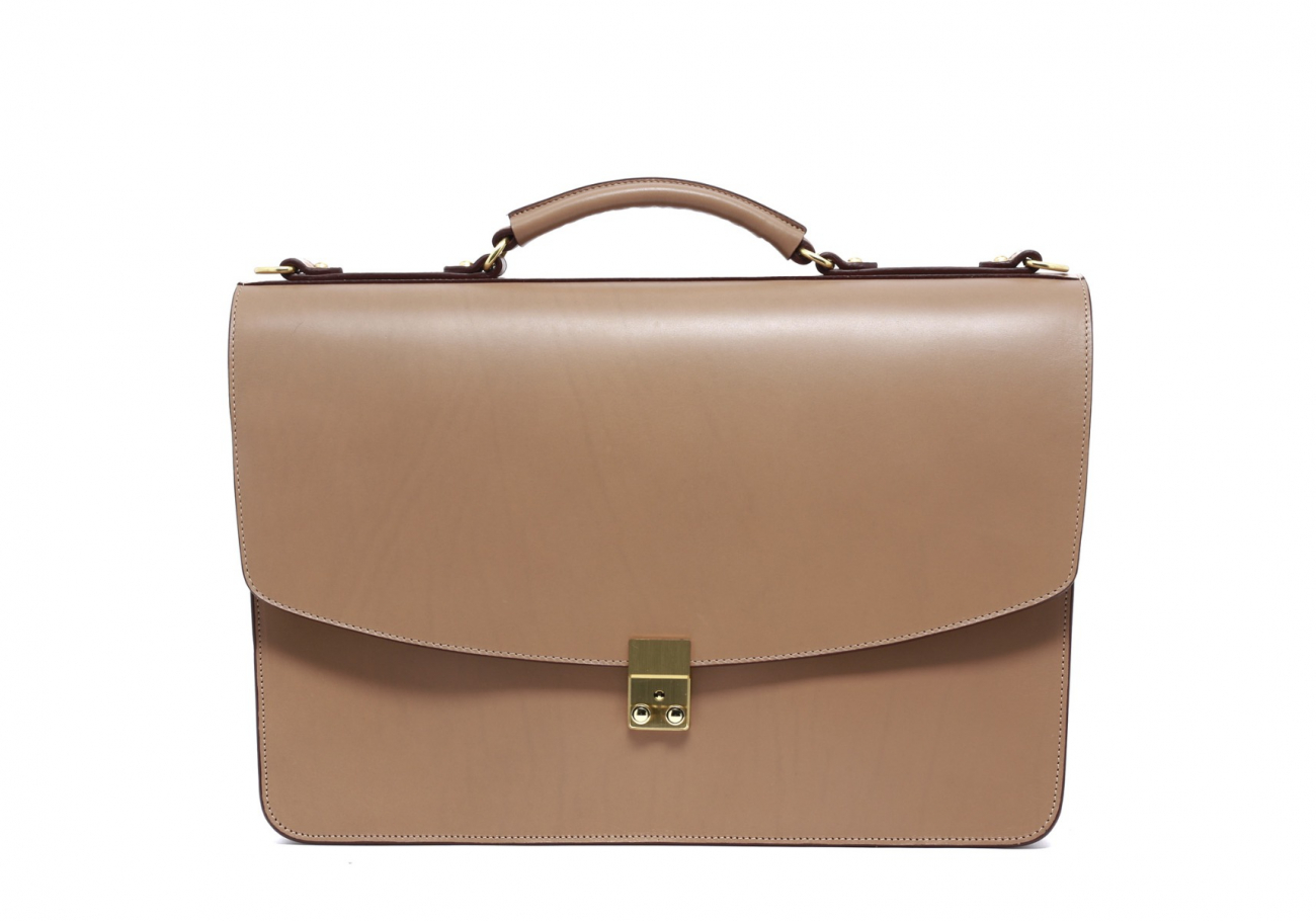 Taupe Leather Wall Street Briefcase1