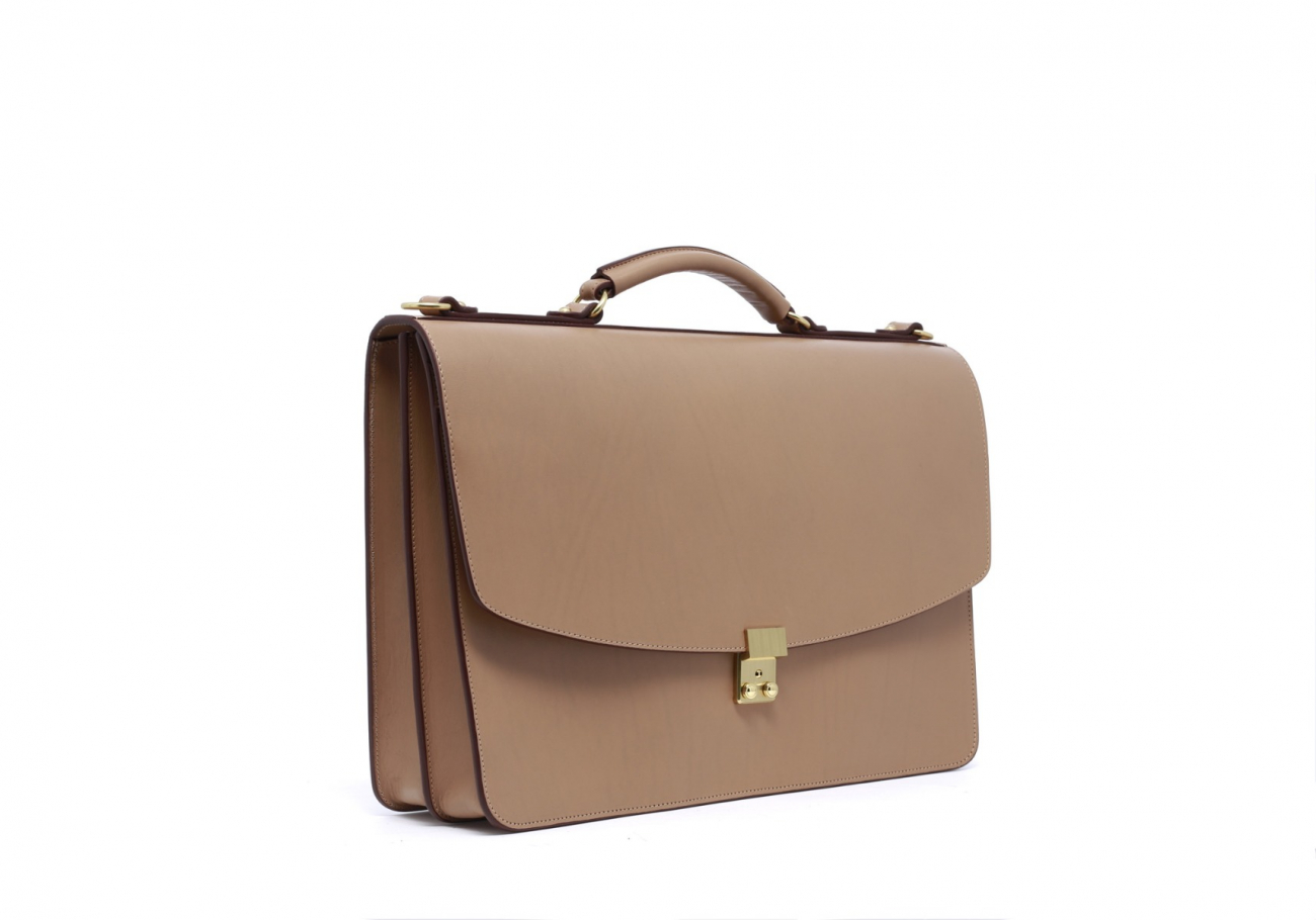 Taupe Leather Wall Street Briefcase2