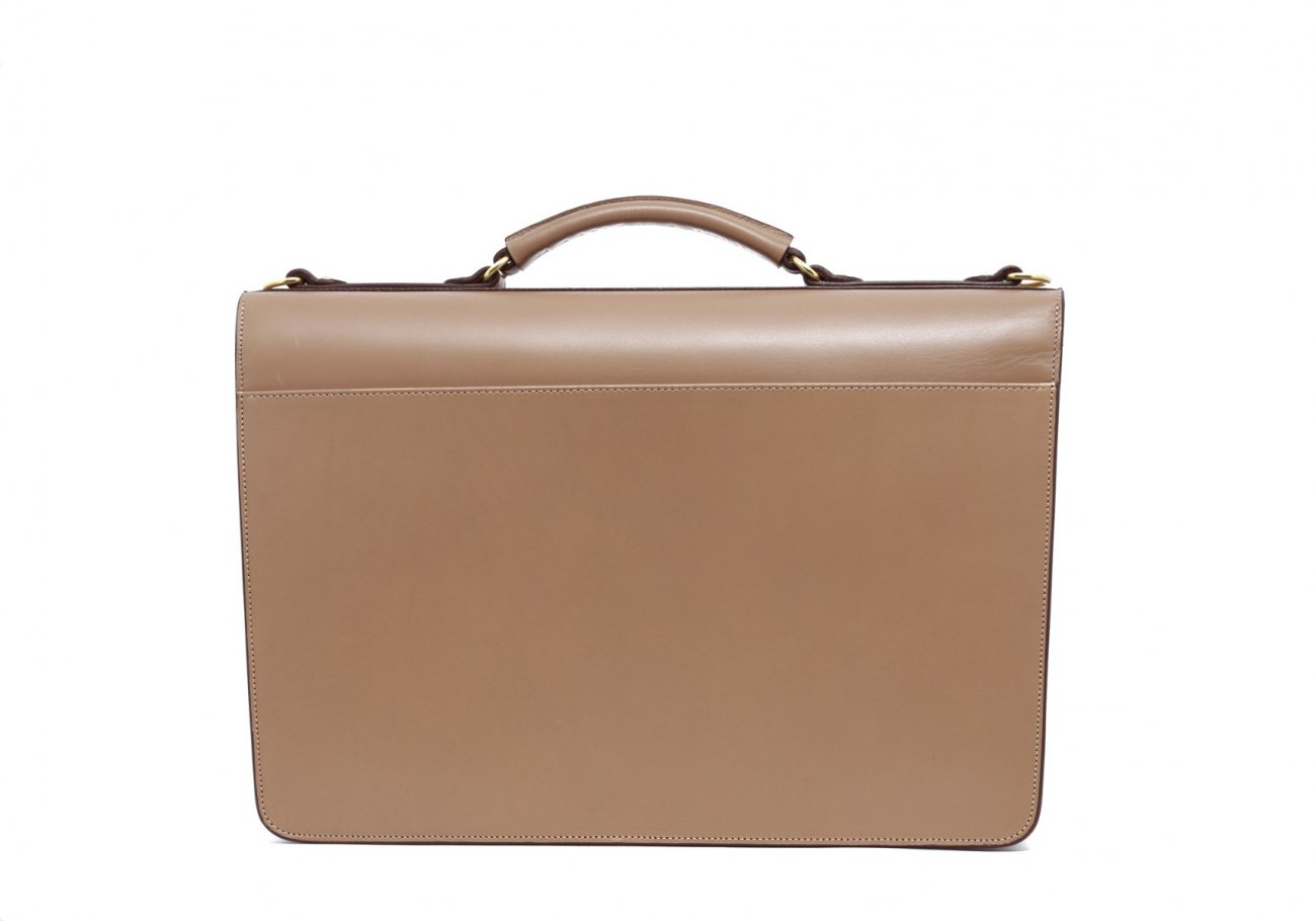 Taupe Leather Wall Street Briefcase4