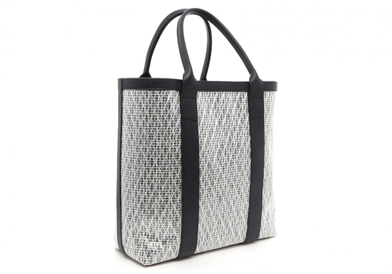 White Navy Weaved Sail Cloth Tall Tote C