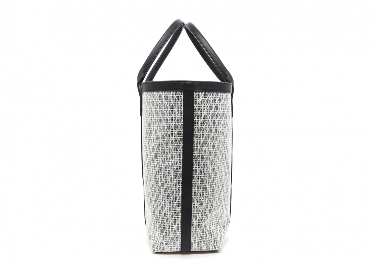 White Navy Weaved Sail Cloth Tall Tote D