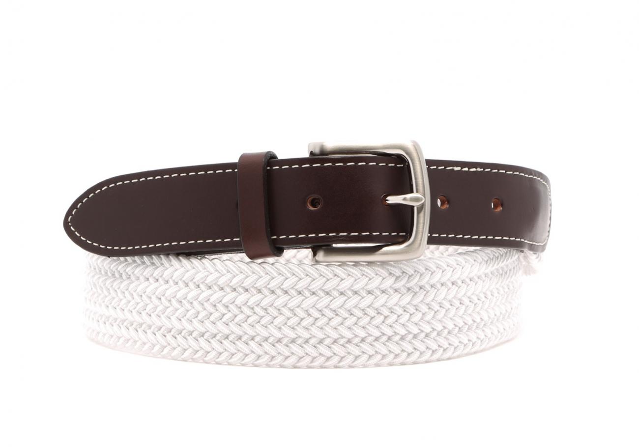 White Woven Elastic Belt Leather Trim1 2 1 2