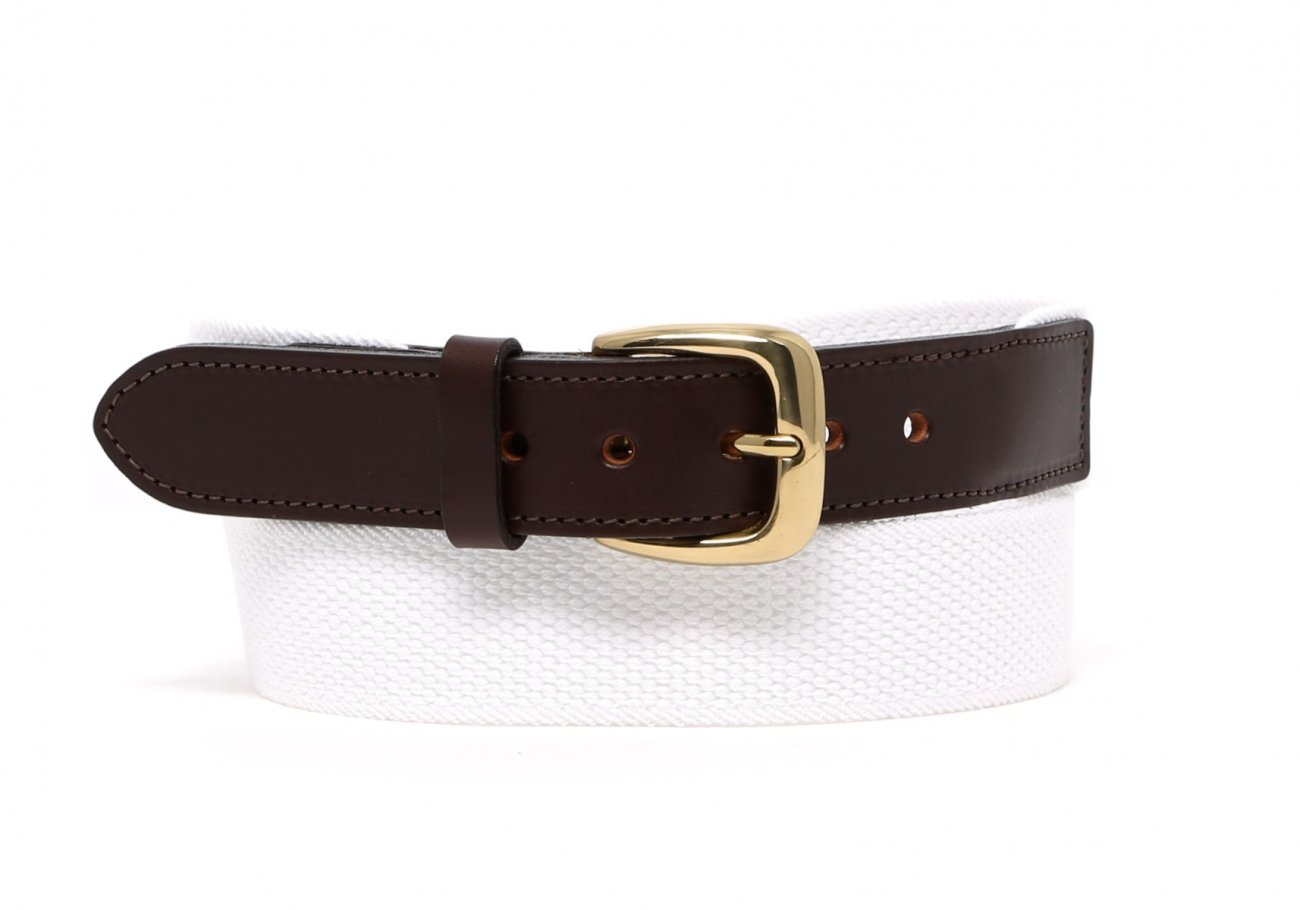 White Woven Stretch Belt Brass Buckle1 1 2